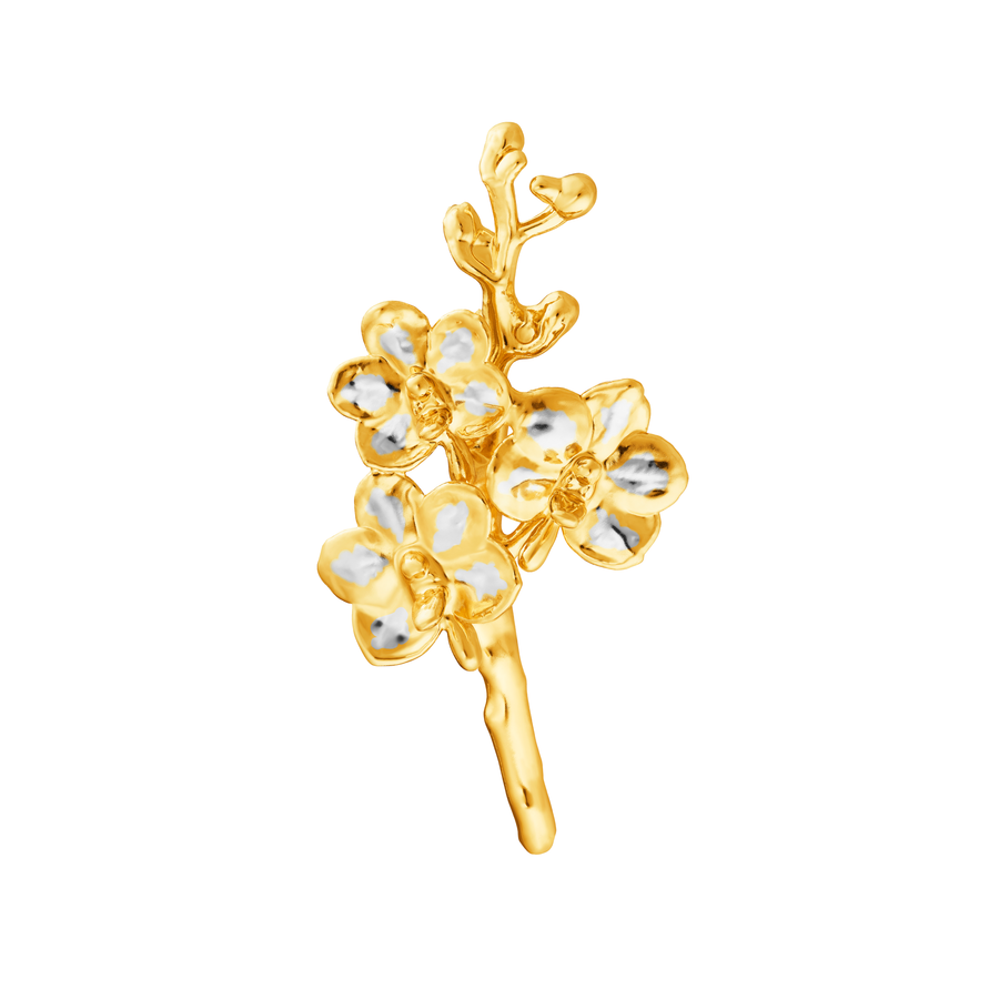 Ascocenda Sagarik Gold Orchid Spray Brooch (RHG)