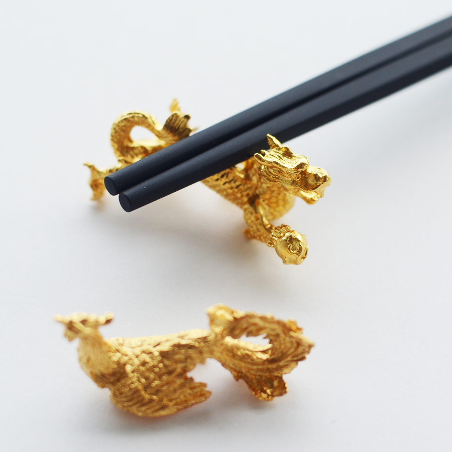 Set of 6 Bamboo Chopsticks with Dragon and Phoenix Rests