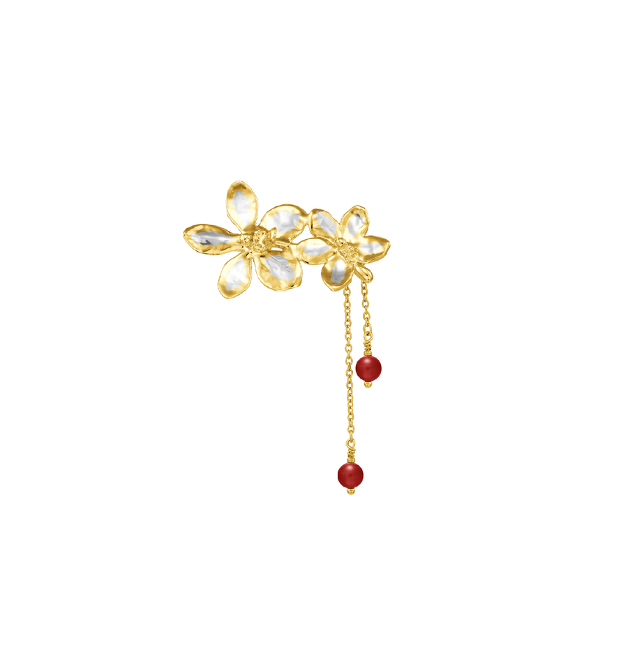 Scarlet Symphony - Brooch with Red Agate