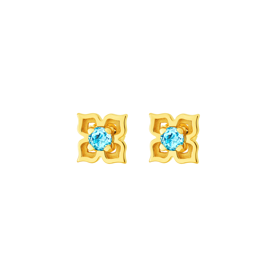 Peranakan Earrings with Blue Topaz (G)