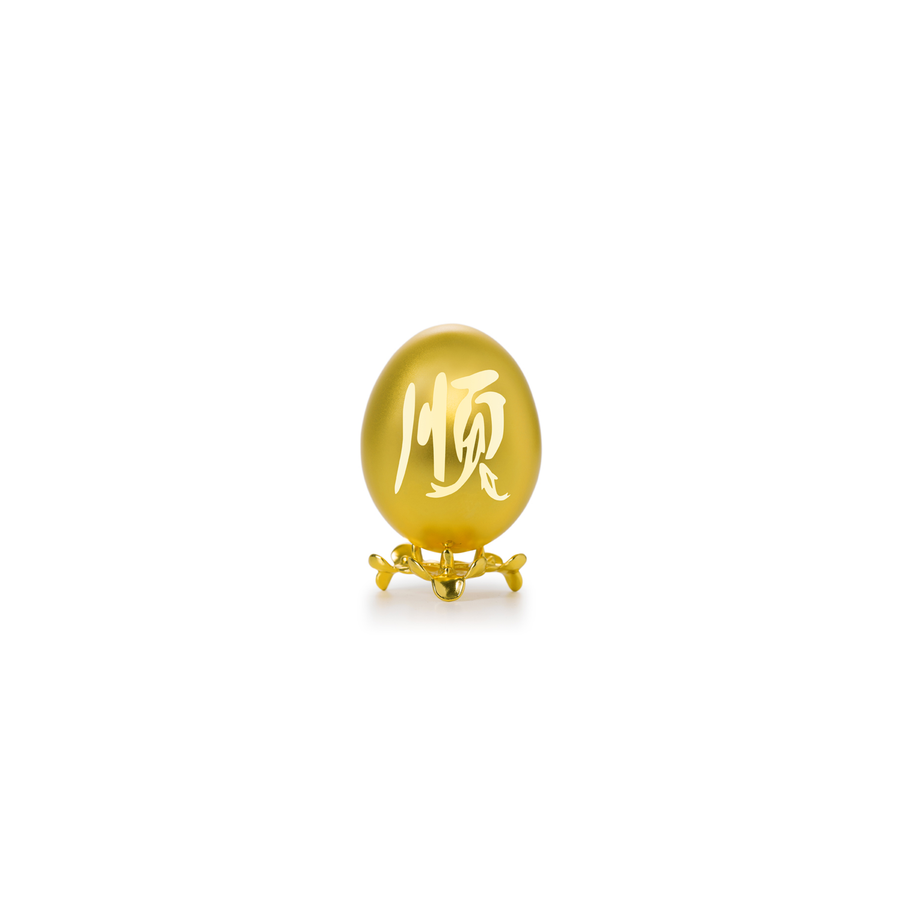 24K Gold-Plated Natural Chicken Egg with Motif - Shun