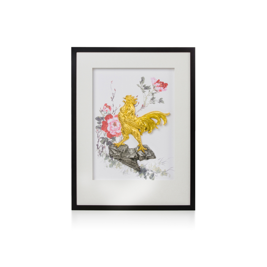 Rooster Frame - Courage with Pewter Base