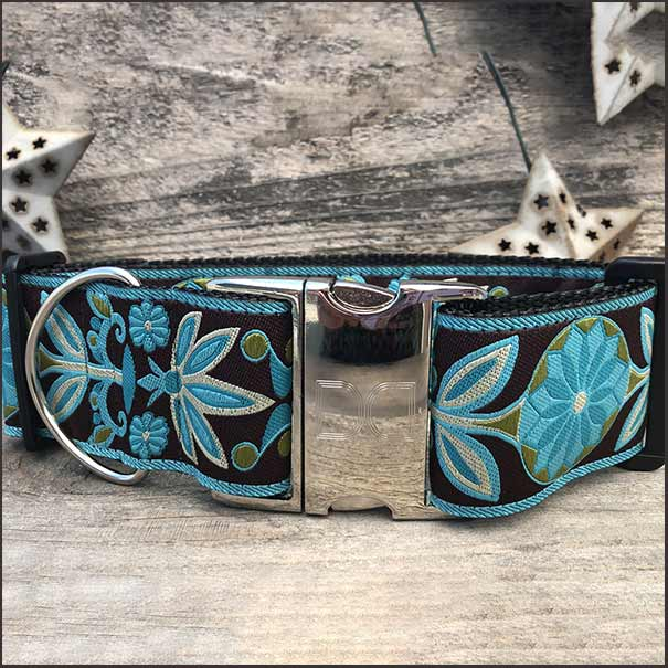 Boho Peacock Extra Wide Dog Collar - pooche supplies