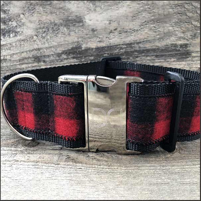 Buffalo Plaid Sierra Red Extra Wide Dog Collar - pooche supplies