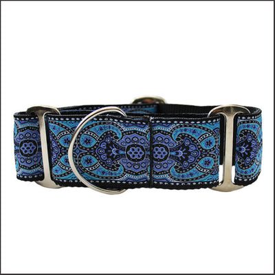 Kashmir Peacock Blue Martingale Dog Collar - pooche supplies