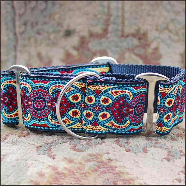 Kashmir Temple Red Martingale Dog Collar - pooche supplies