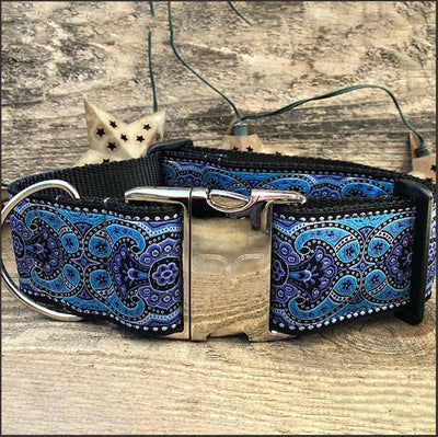 Kashmir Peacock Blue Extra Wide Dog Collar - pooche supplies