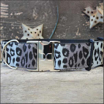 Midnight Leopard Extra Wide Dog Collar - pooche supplies