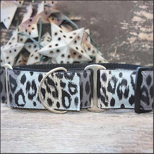 Midnight Leopard Martingale Dog Collar