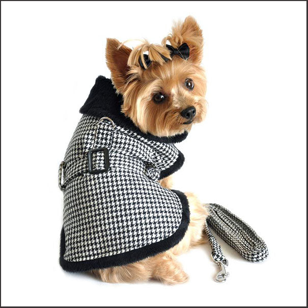 Classic Houndstooth Dog Coat Set with Leash - pooche supplies