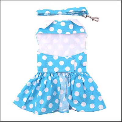 Baby-Blue Polka Dot Dog Dress Harness Set with Leash - pooche supplies