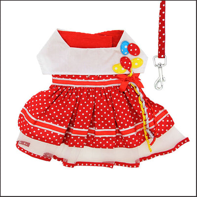 Red Polka Dot Balloon Designer Dog Dress with Leash - pooche supplies