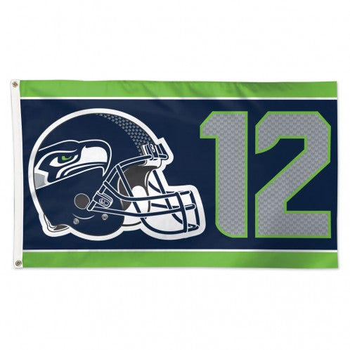 Load image into Gallery viewer, 3x5 Seattle Seahawks 12 Helmet Team Flag; Polyester H&G
