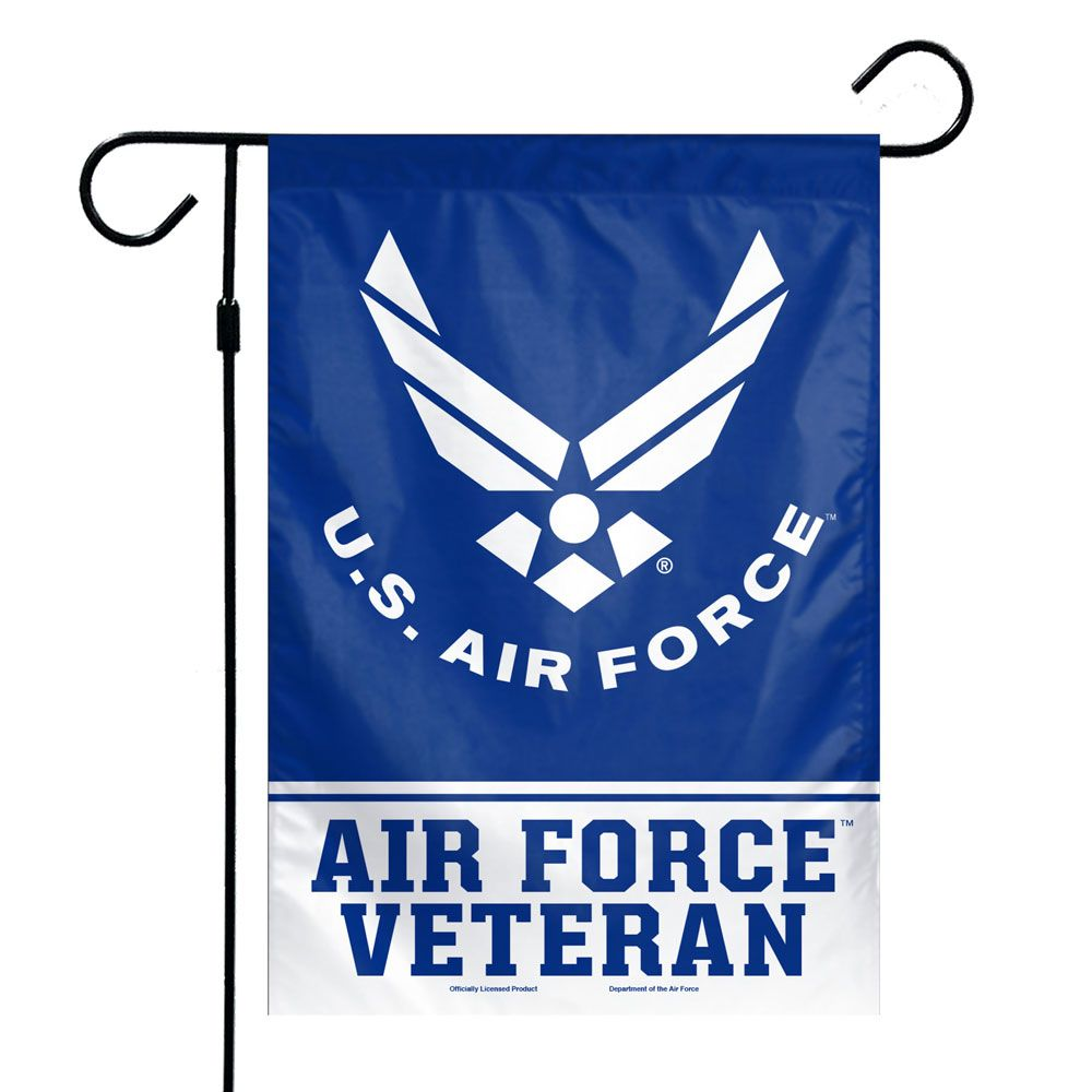"Load image into Gallery viewer, US Air Force Veteran Printed Garden Flag; Polyester 12""x18"""