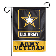 "Load image into Gallery viewer, US Army Veteran Printed Garden Flag; Polyester 12""x18"""