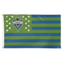 Load image into Gallery viewer, 3x5 Seattle Sounders Stars & Stripes Team Flag; Polyester H&G