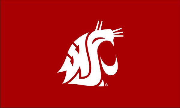 3x5 Washington State University Cougars Applique Flag; Polyester H&G