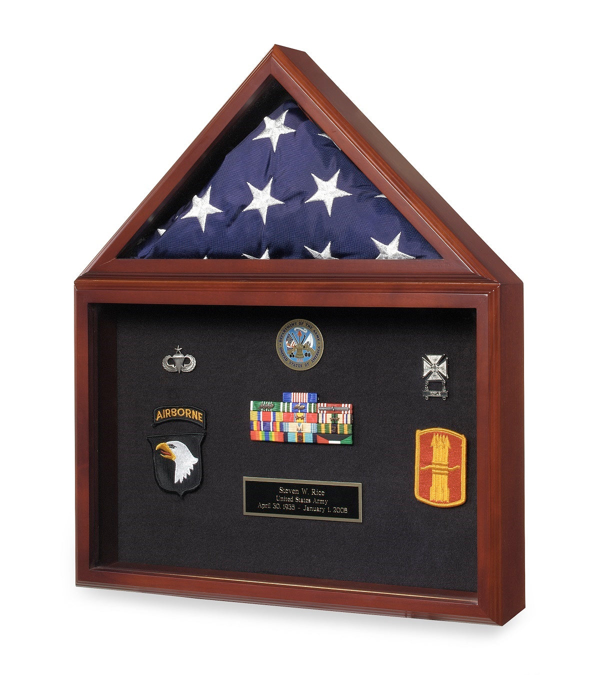 Load image into Gallery viewer, Cherry Finish Wood Flag, Medal & Certificate Case