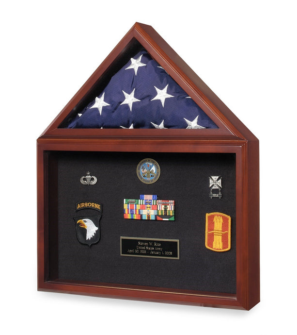 Cherry Finish Wood Flag, Medal & Certificate Case