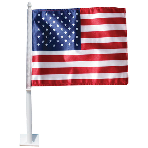 US Window Car Flag; Polyester with Plastic Clip
