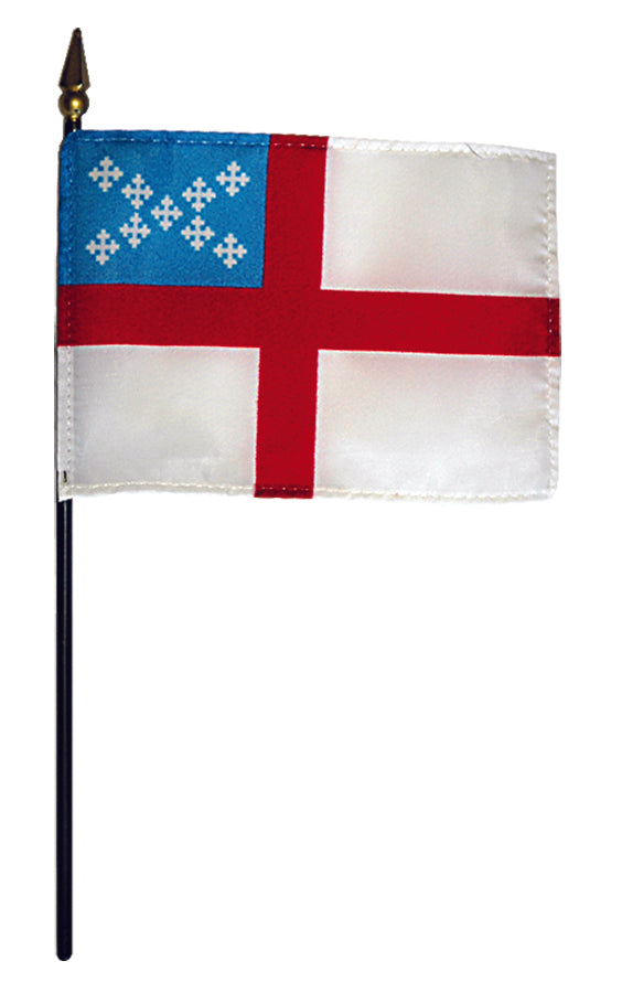 "Load image into Gallery viewer, 4""x6"" Episcopal Poly-Silk Stick Flag"