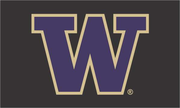Load image into Gallery viewer, 3x5 University of Washington Huskies Team Flag with Black Background; Polyester H&G