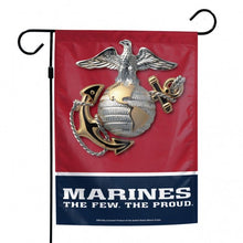 "Load image into Gallery viewer, US Marine Corps Printed Garden Flag; Polyester 12""x18"""