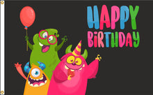 Load image into Gallery viewer, 3x5 Happy Birthday Monsters Outdoor Nylon Flag