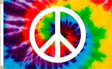 Load image into Gallery viewer, 3x5 Tye Dye Peace Sign Outdoor Nylon Flag