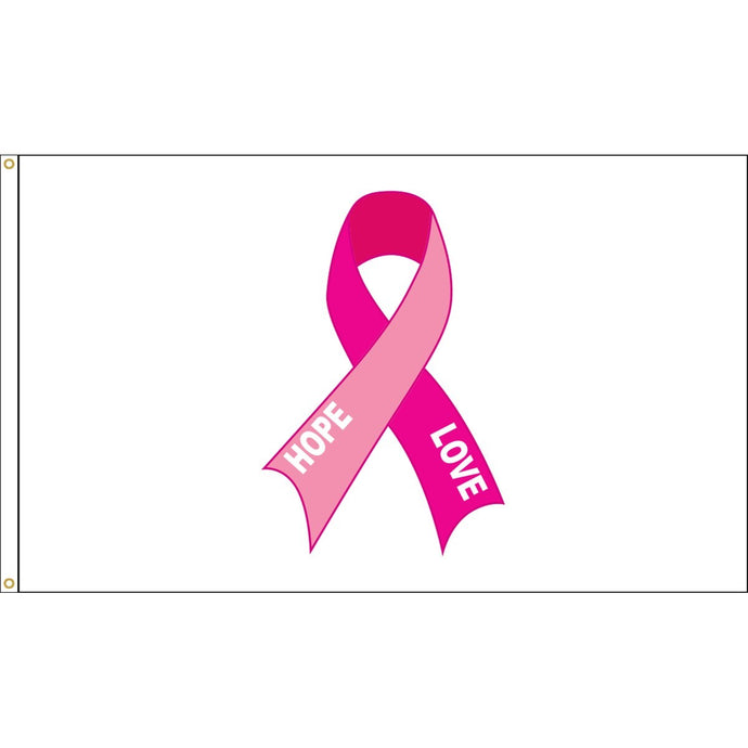3x5 Hope & Love Pink Ribbon Breast Cancer Awareness Applique Outdoor Nylon Flag