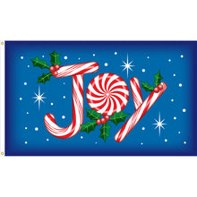 Load image into Gallery viewer, 3x5 Candy Cane Joy Seasonal Outdoor Nylon Flag