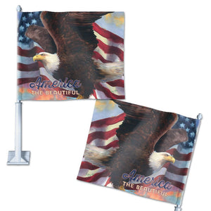 America the Beautiful Eagle Patriotic Car Flag; Polyester