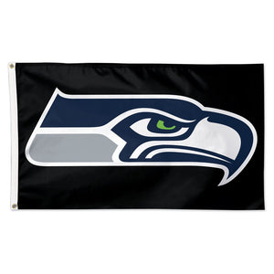 3x5 Seattle Seahawks Team Flag with Black Background; Polyester H&G