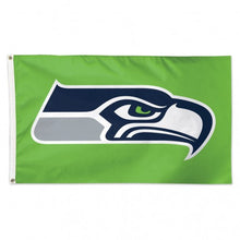 Load image into Gallery viewer, 3x5 Seattle Seahawks Team Flag with Green Background; Polyester H&G