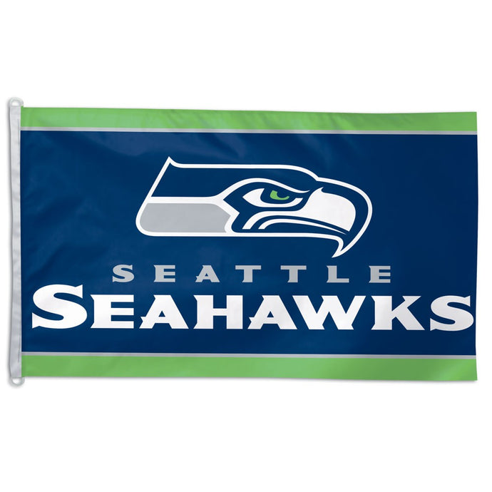 3x5 Seattle Seahawks Team Flag; Polyester with Header & D-Rings