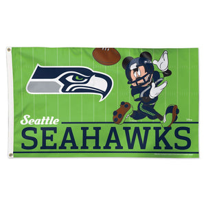 3x5 Seattle Seahawks with Disney Mickey Mouse Team Flag; Polyester H&G