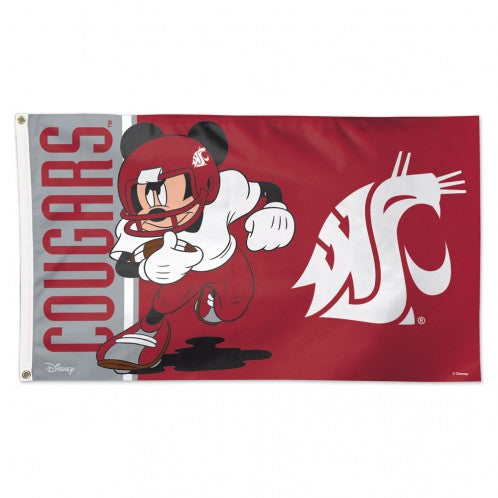 Load image into Gallery viewer, 3x5 Washington State University Cougars Disney Mickey Mouse Team Flag; Polyester H&G
