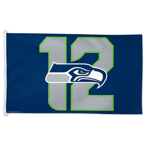 3x5 Seattle Seahawks Logo 12 Flag; Polyester with Header & D-Rings