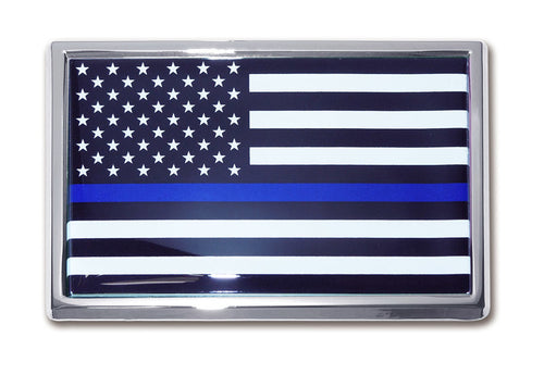 Thin Blue Line American Flag Chrome Automobile Emblem