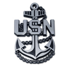 Load image into Gallery viewer, US Navy Anchor Insignia Chrome Automobile Emblem