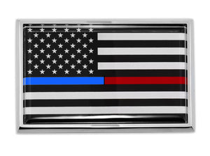 Thin Blue & Red Line American Flag Chrome Automobile Emblem