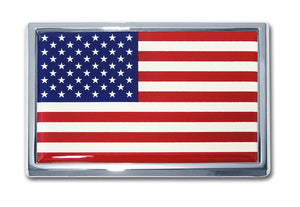 American Flag Chrome Automobile Emblem