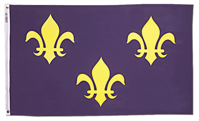 2x3 French Fleur de lis with Blue Background Historical Nylon Flag