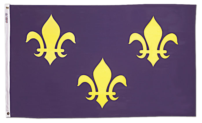 Load image into Gallery viewer, 4x6 French Fleur de lis with Blue Background Historical Nylon Flag