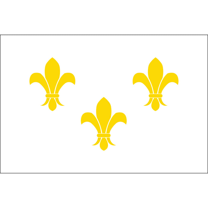 5x8 French Fleur de lis with White Background Historical Nylon Flag