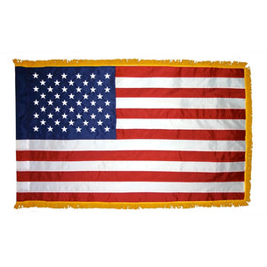 3x5 American Indoor & Parade Nylon Flag with Sleeve & Gold Fringe