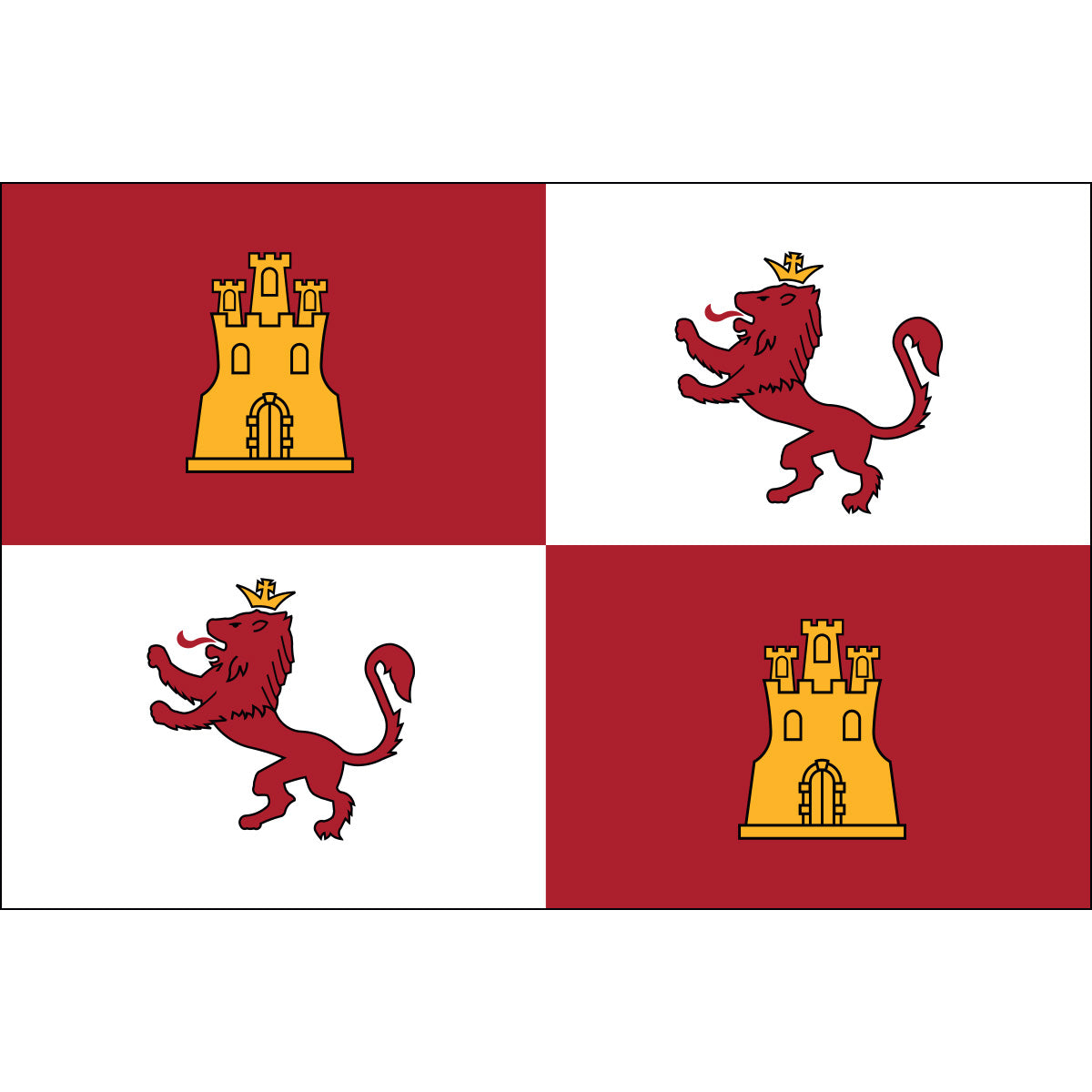 Load image into Gallery viewer, 4x6 Royal Standard of Spain Lions & Castles Historical Nylon Flag