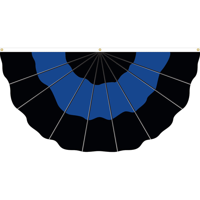3x6 Thin Blue Line Nylon Pleated Full Fan with Three Sewn Stripes