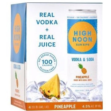High Noon Sun Sips Vodka & Soda Pineapple Can 355ml 4 Pack