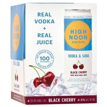 High Noon Sun Sips Vodka & Soda Black Cherry Can 355ml 4 Pack